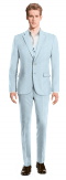 Blue 3-Piece linen Suit-View Front