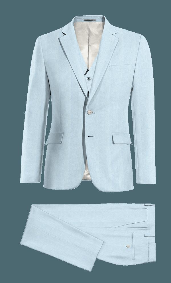 Costume bleu 3 pièces en Lin