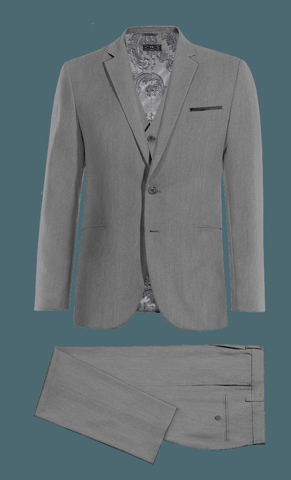 Costume gris 3 pièces 100% laine