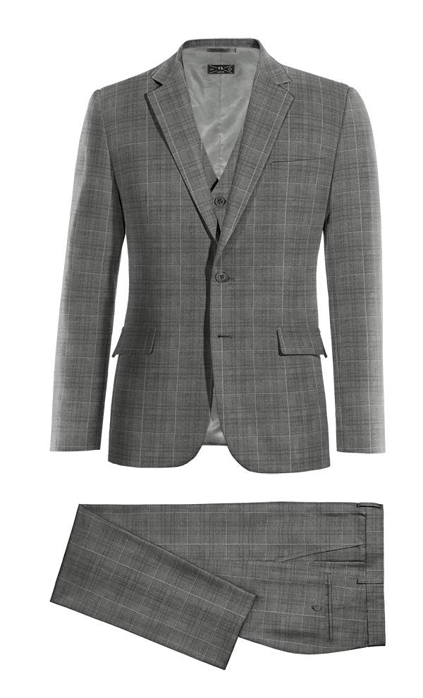 Grey 3-Piece checked 100% Wool Suit