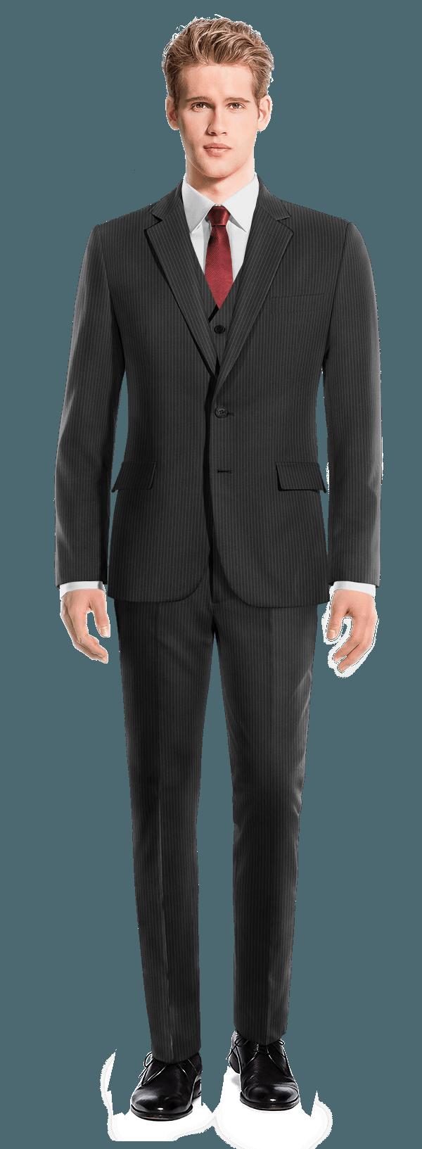 Black 3-Piece striped 100% Wool Suit