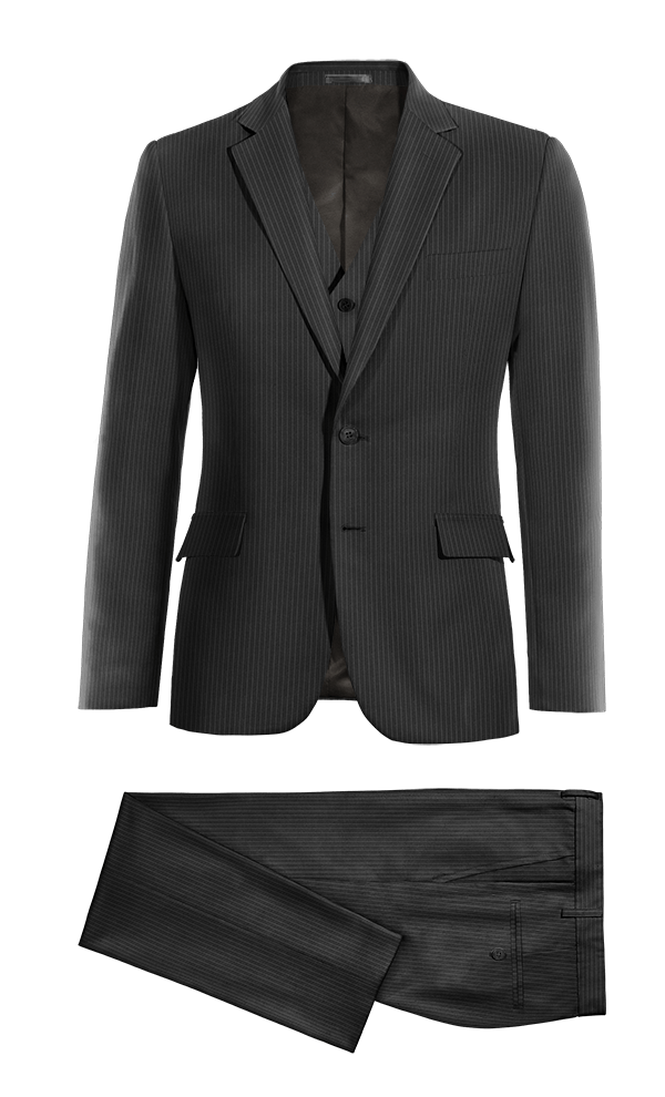 Black 3-Piece striped 100% Wool Suit