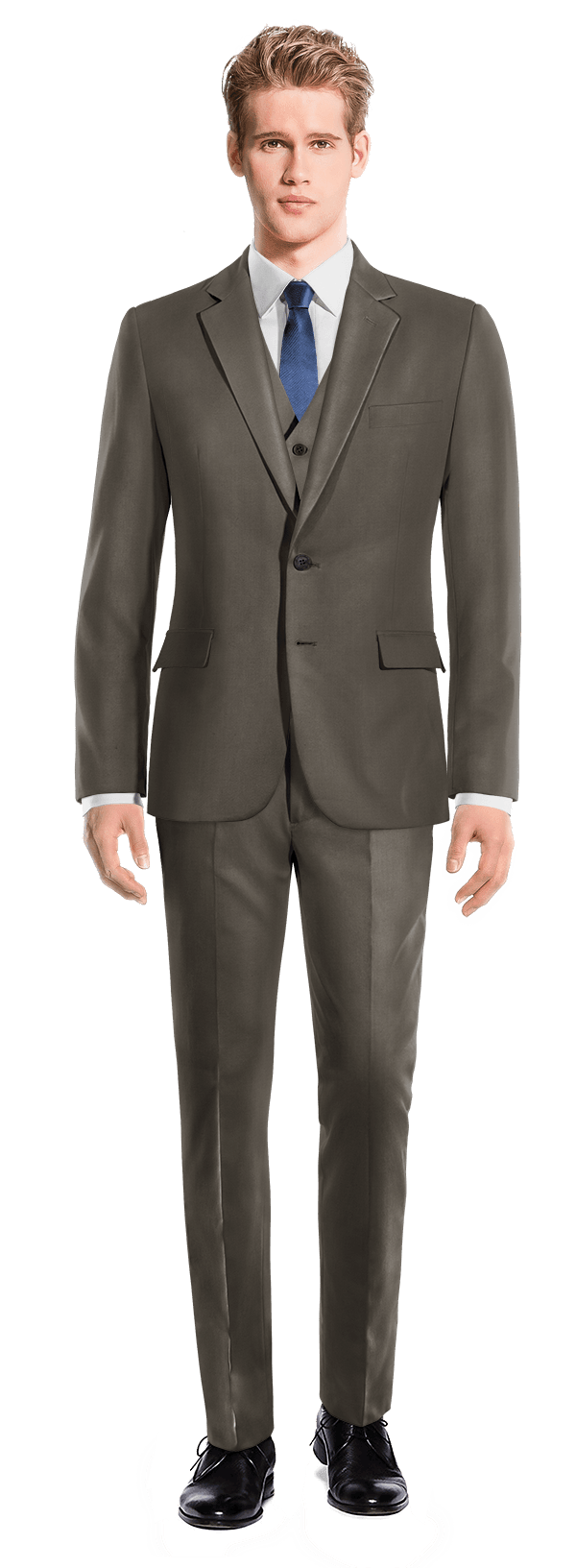 Brown 3-Piece polyester Suit