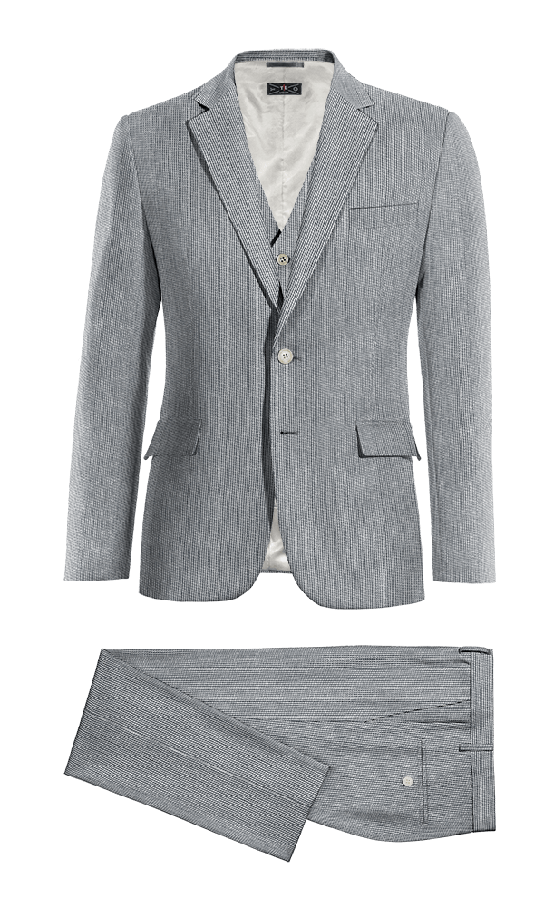 Blue 3-Piece striped linen Suit