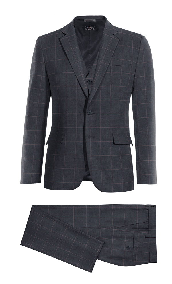 Blue 3-Piece checked 100% Wool Suit