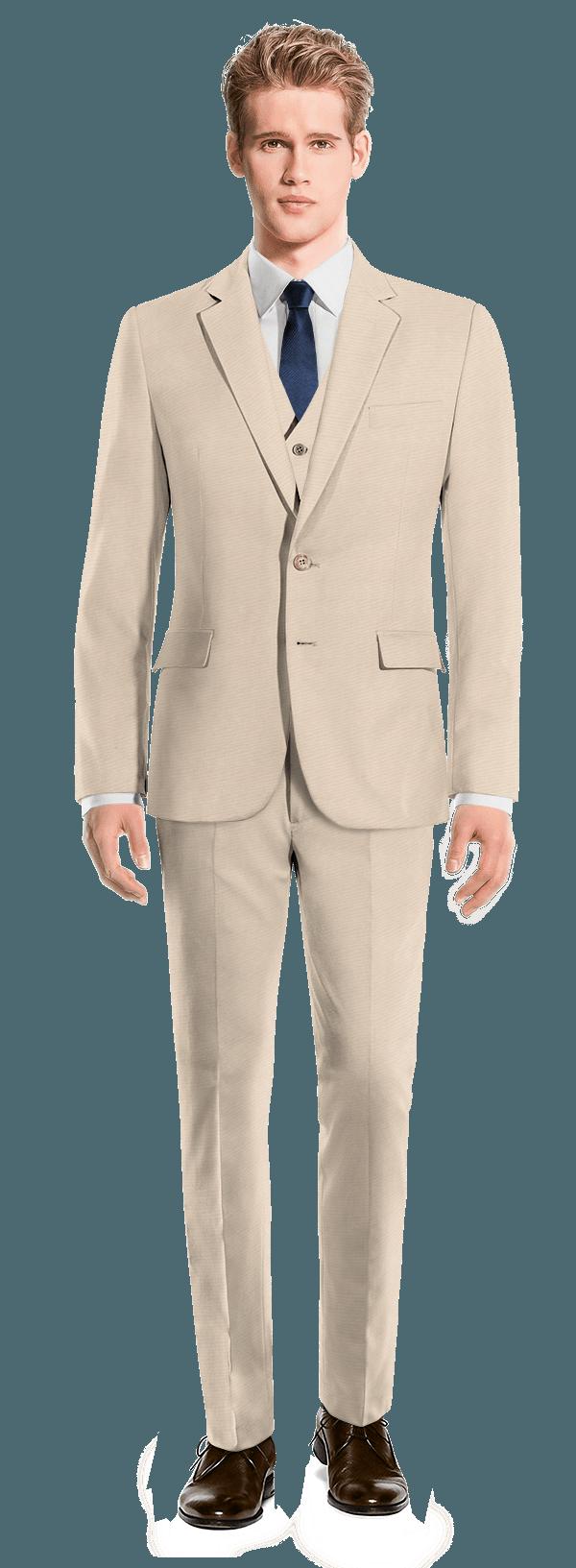 Beige 3-Piece wool Suit