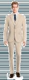 Beige 3-Piece wool Suit-View Front