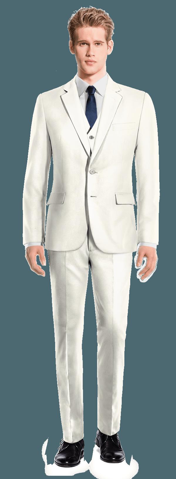 Costume blanc 3 pièces en Polyester