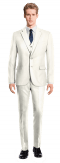White 3-Piece polyester Suit-View Front