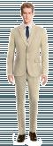 Beige 3-Piece linen Suit-View Front