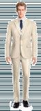 Costume beige 3 pièces en Polyester-Vue Avant