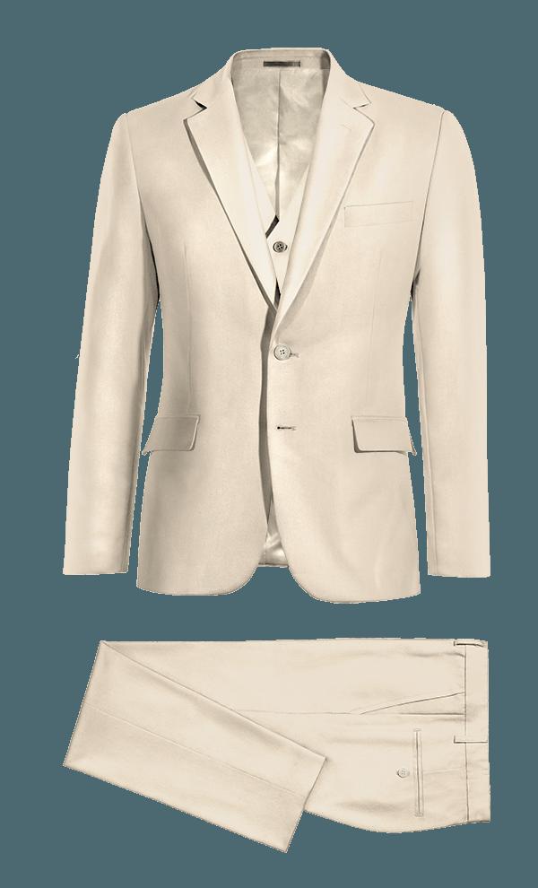 Beige 3-Piece polyester Suit