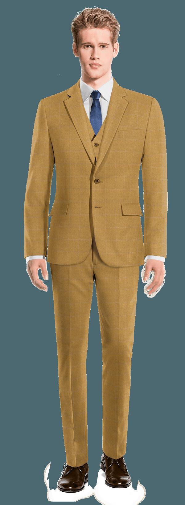 Abito 3 pezzi marrone a quadri 100% lana