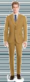 Abito 3 pezzi marrone a quadri 100% lana-Vista Frontale