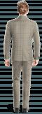 Costume marron 3 pièces à carreaux 100% laine-Vue Dos
