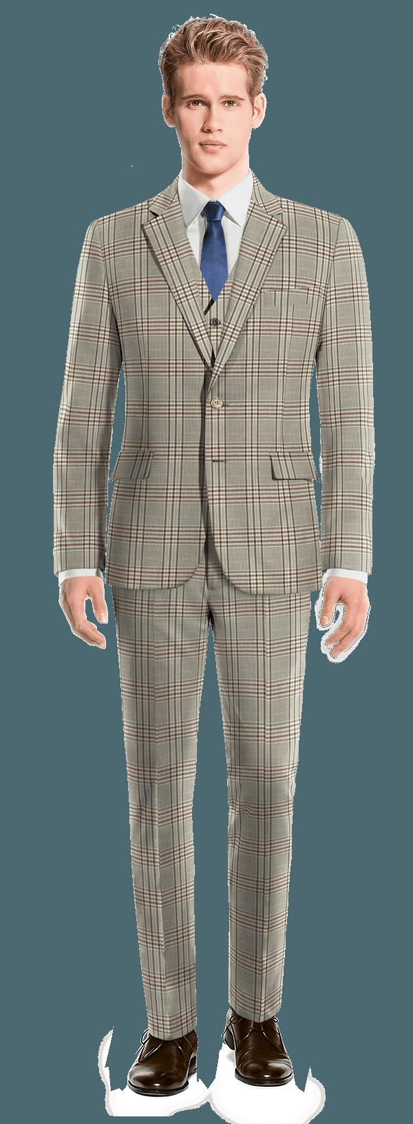 Costume marron 3 pièces à carreaux 100% laine