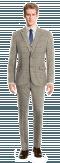 Costume marron 3 pièces à carreaux 100% laine-Vue Avant