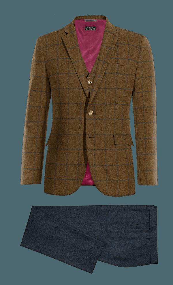 Veste marron 3 pièces à carreaux en tweed & Pantalon bleu coupe cintrée en tweed