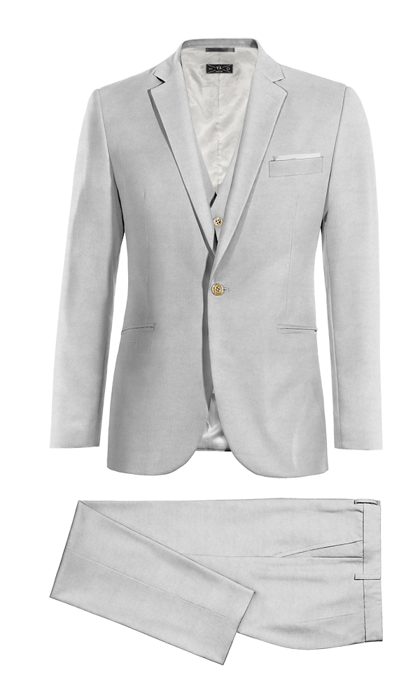 Grey 3-Piece linen Suit