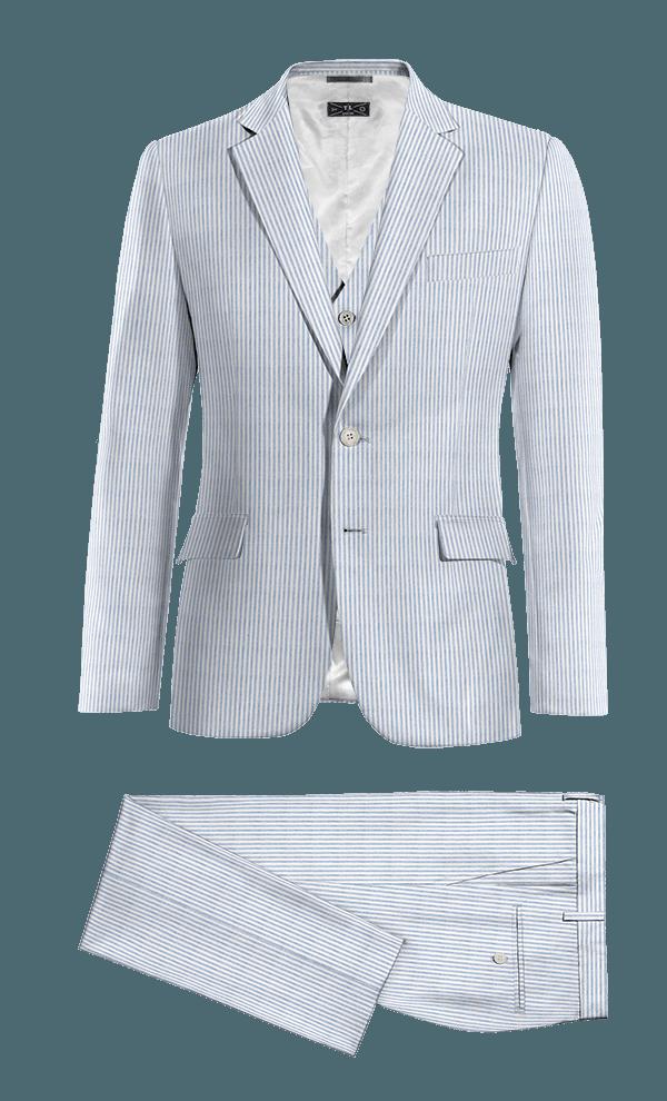 Costume bleu 3 pièces à rayures en seersucker