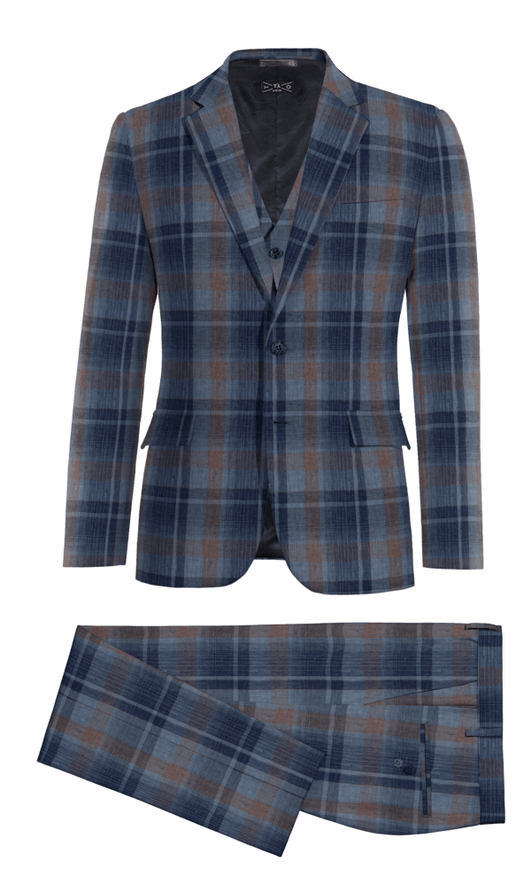 Blue 3-Piece checked linen Suit