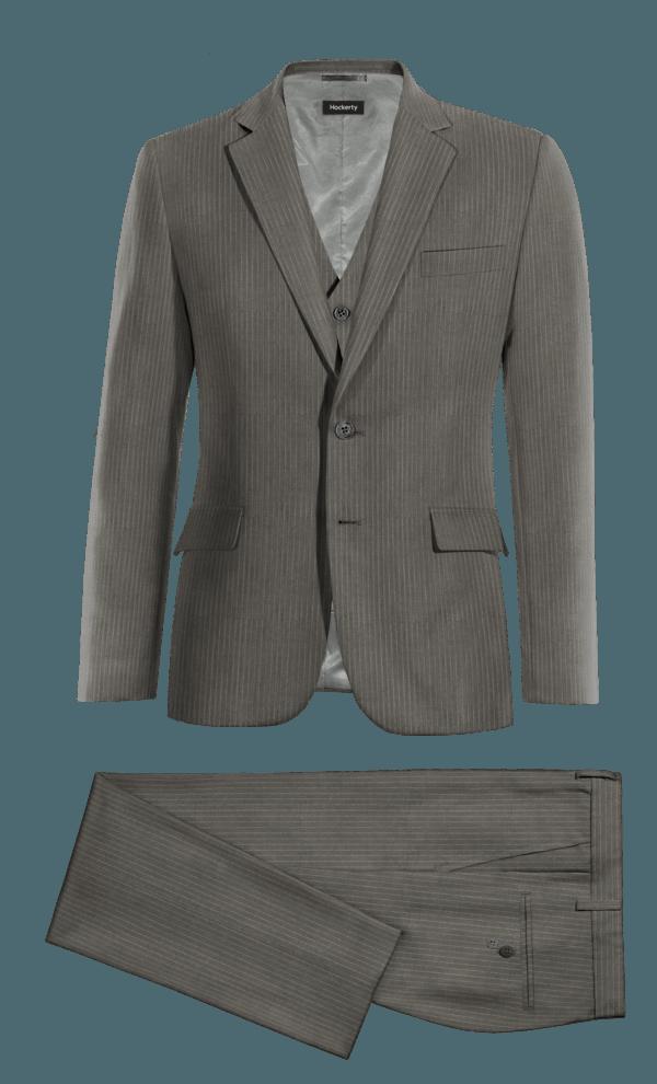 серый шерстяной Костюм-тройка в полоску