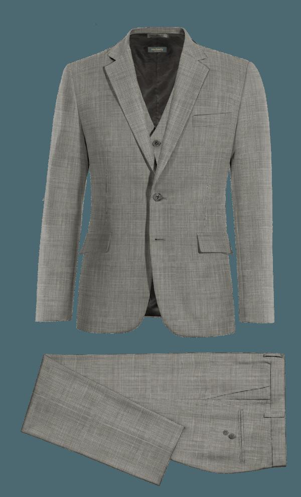 Costume gris 3 pièces à chevron 100% laine