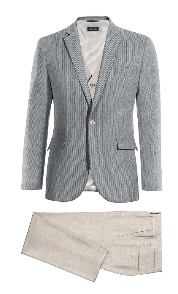 Veste bleu 3 pièces à rayures en Lin & Pantalon beige coupe cintrée en Lin