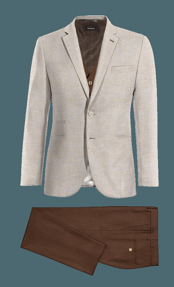 Veste beige 3 pièces en Lin & Pantalon marron coupe cintrée en Lin