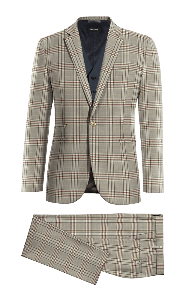 Brown 3-Piece checked 100% Wool Suit