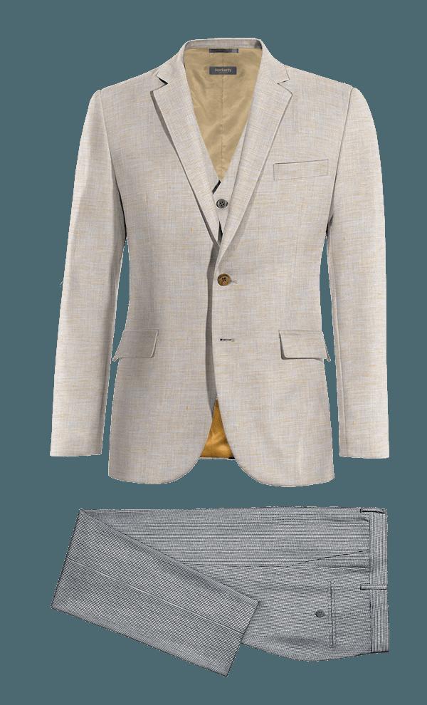 Beige 3-Piece linen Suit