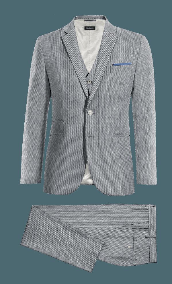 Blue 3-Piece striped linen Suit