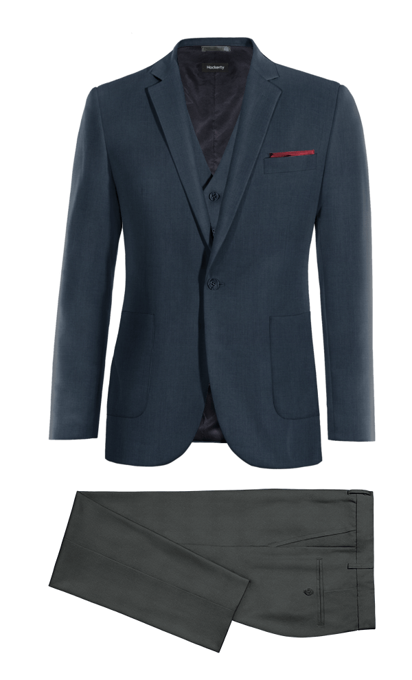 Blue 3-Piece 100% Wool Suit