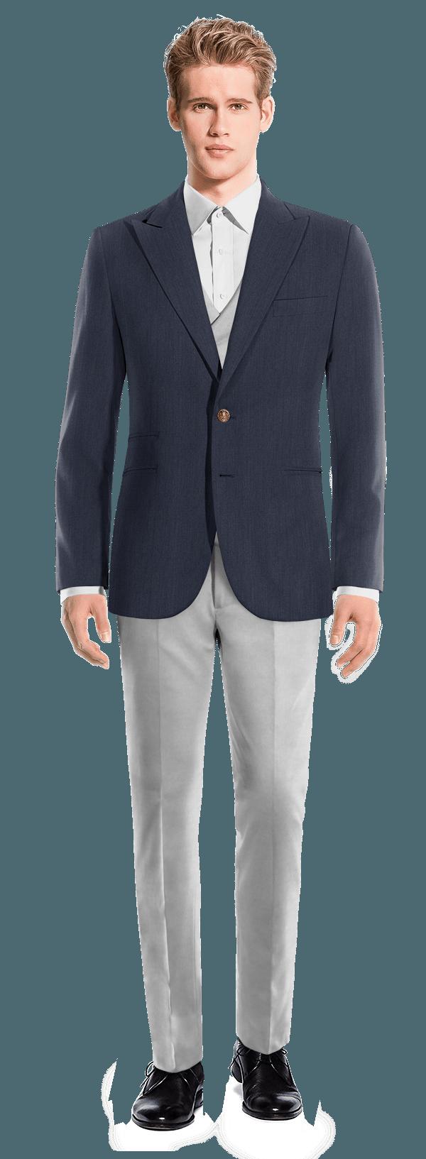 costume 3 pi ces avec veste bleue en lin et pantalon gris. Black Bedroom Furniture Sets. Home Design Ideas