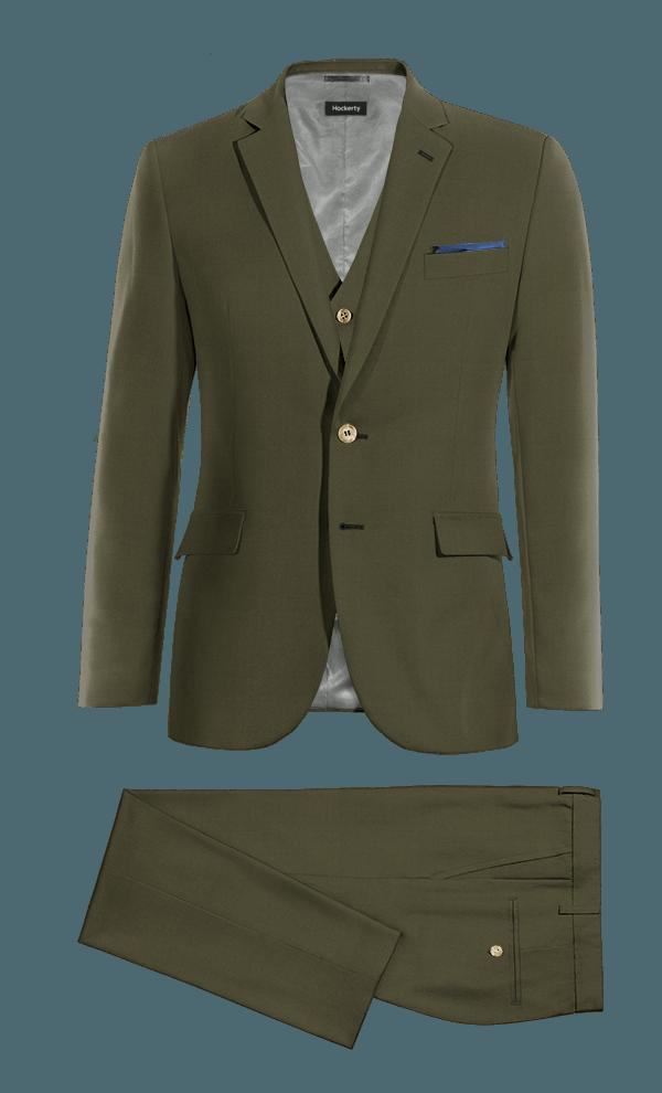 Costume vert 3 pièces en Coton