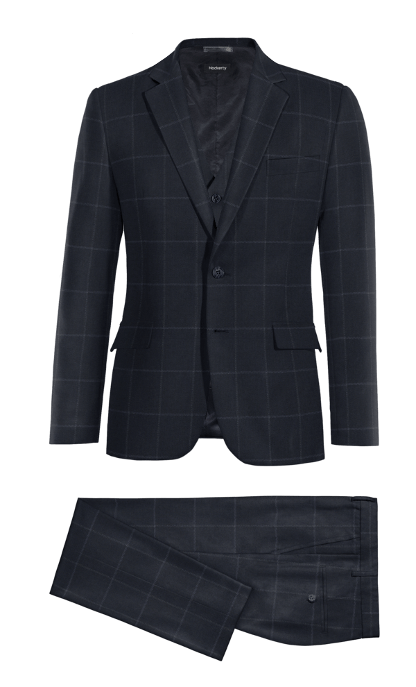 Blue 3-Piece checked polyester Suit