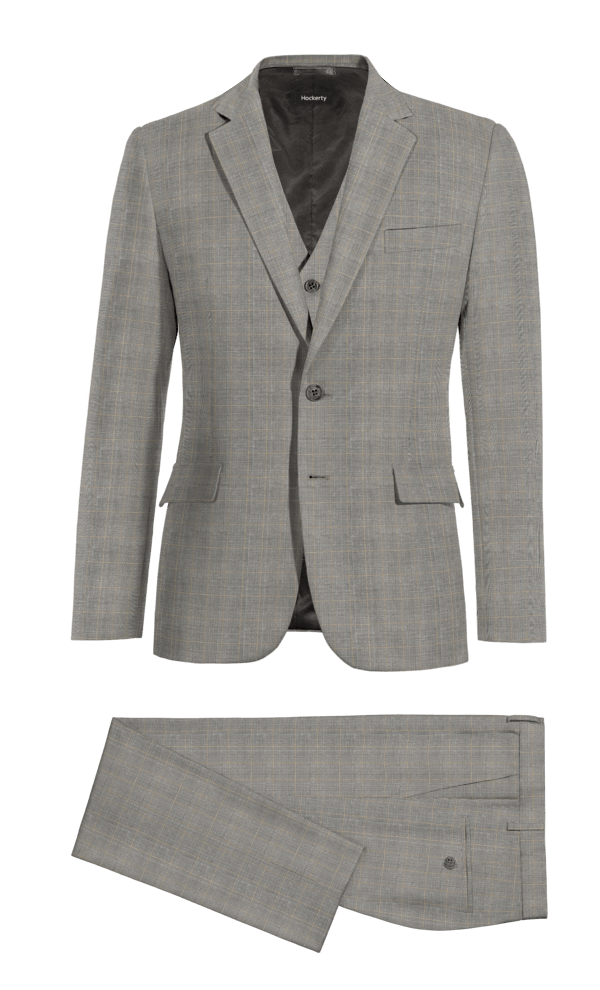 Grey 3-Piece checked wool Suit
