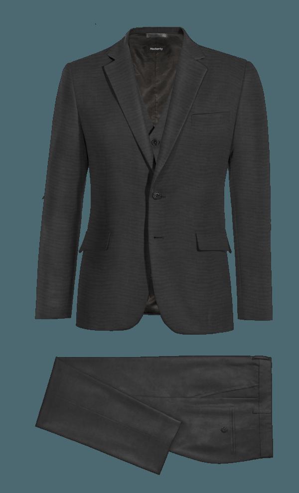 Black 3-Piece 100% Wool Suit
