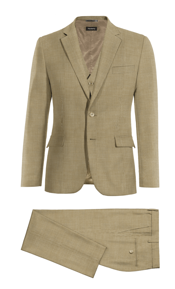 Brown 3-Piece Houndstooth 100% Wool Suit