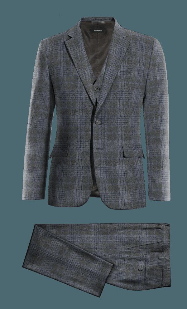 Grey 3-Piece checked tweed Suit