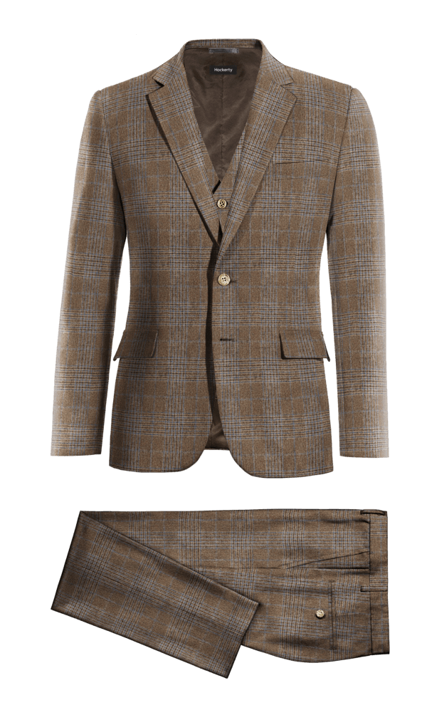 Costume marron 3 pièces à carreaux en tweed