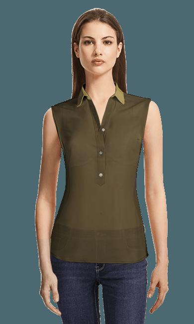 eb94d39aebf коричневая Блузка без рукавов 3777руб - Daisy