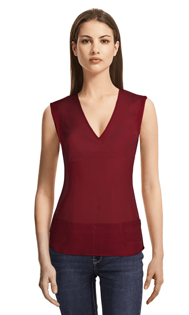 talla 40 a9c87 2538c Blusa roja cuello en V sin mangas
