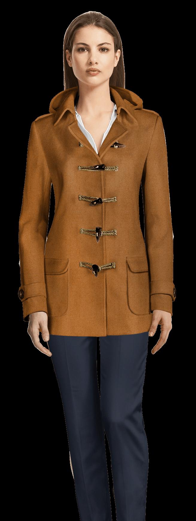 new styles b975e 3012e Cappotto Montgomery corto color cammello con tasche rattopatto