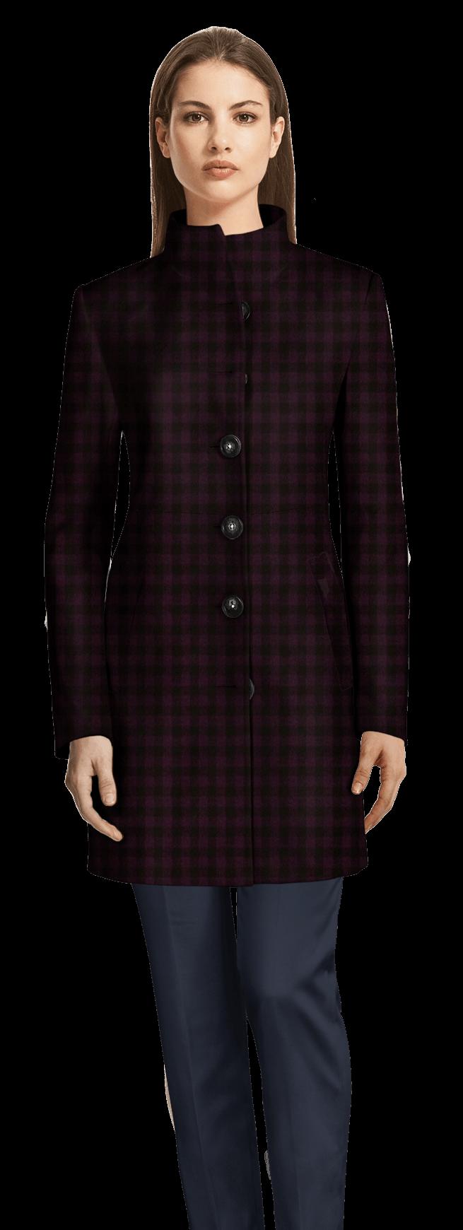 Cappotto collo alto a quadri viola scuro