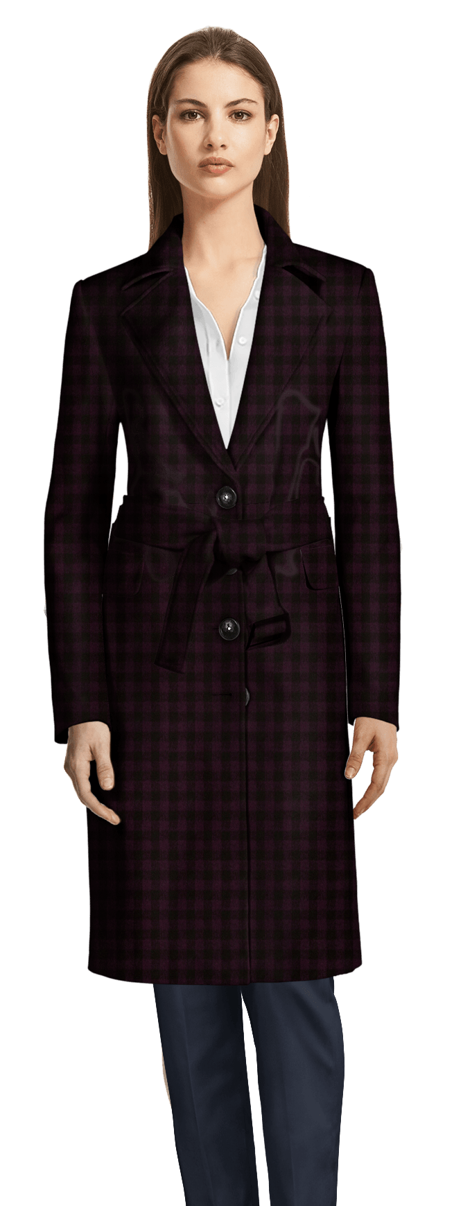 new styles bcd22 53447 Cappotto a quadri Lungo con cintura