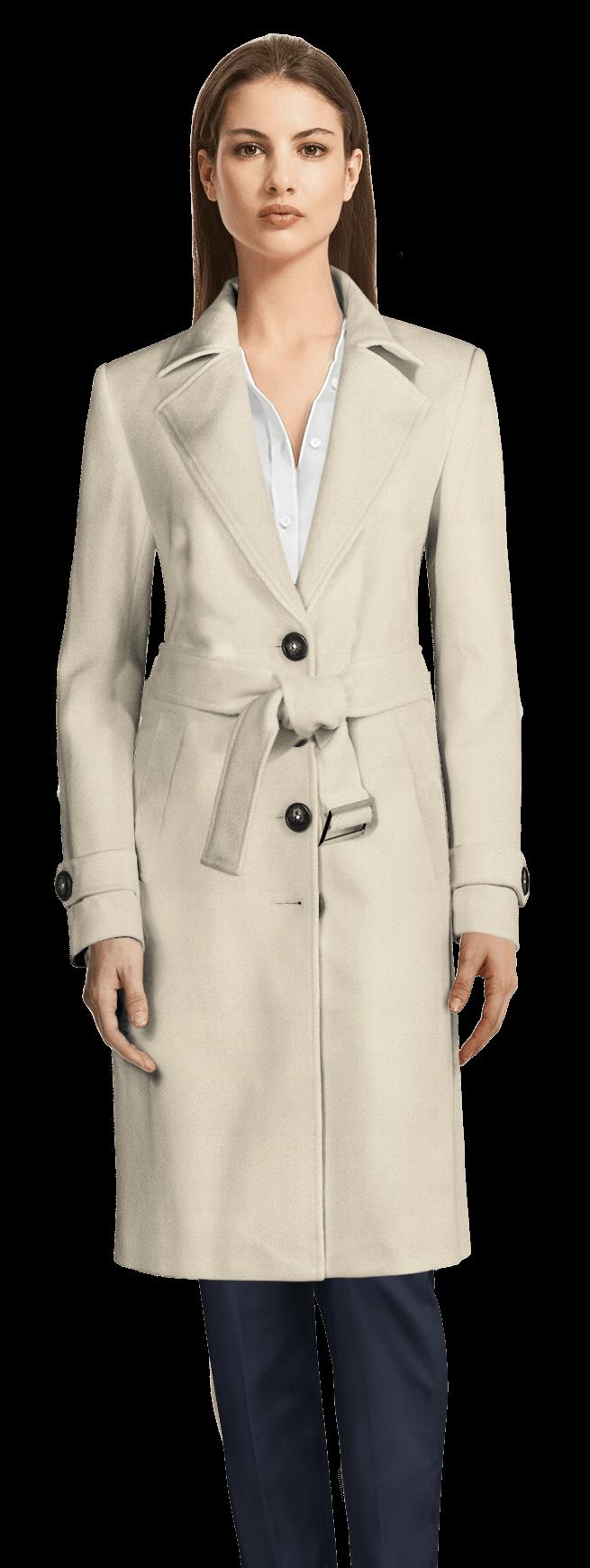 official photos 27530 5de46 Cappotto con cintura lungo avorio con risvolti larghi
