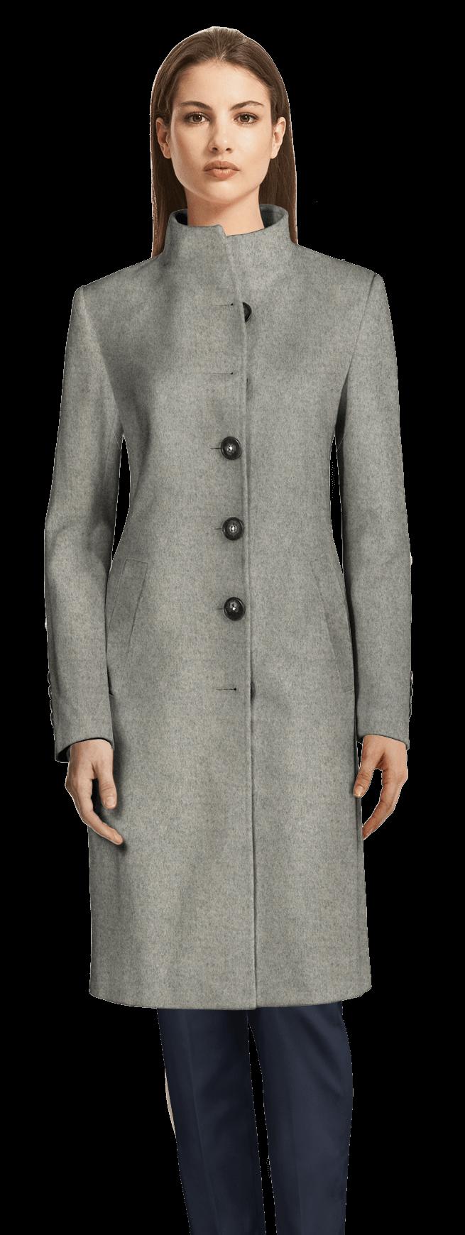 Cappotto collo alto lungo grigio