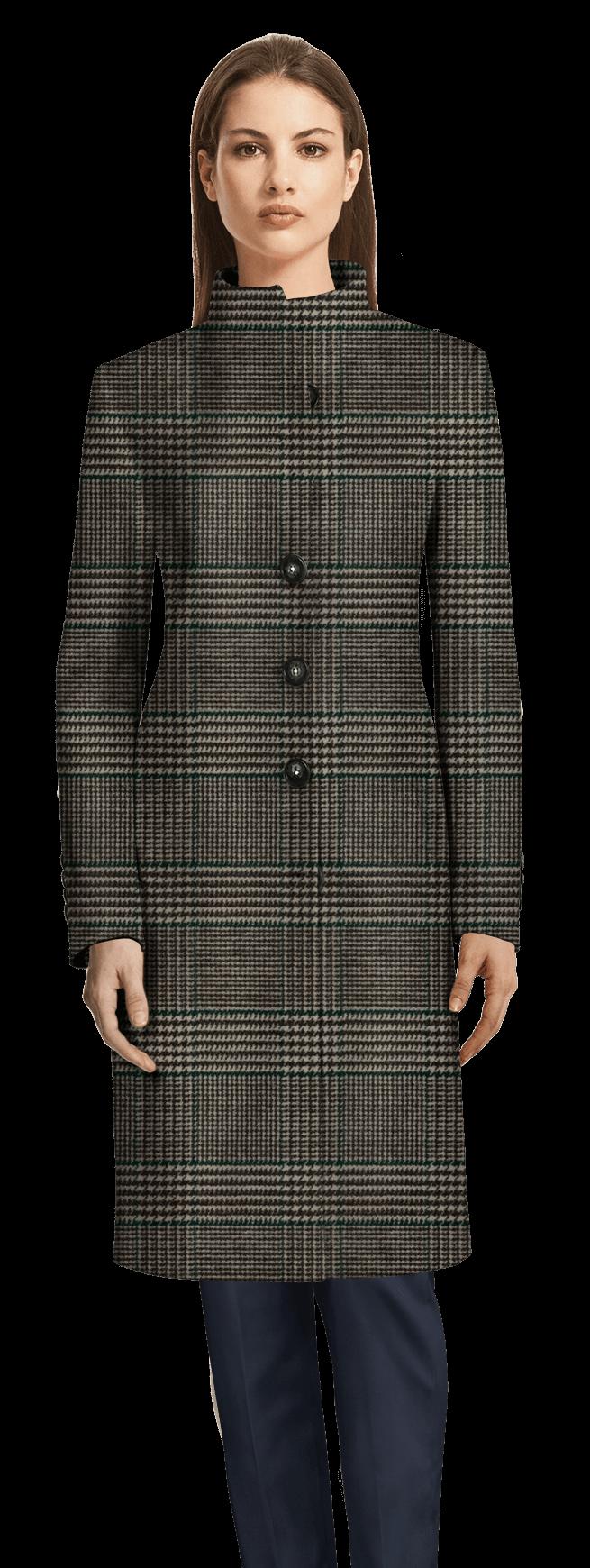 Cappotto collo alto a quadri lungo grigio