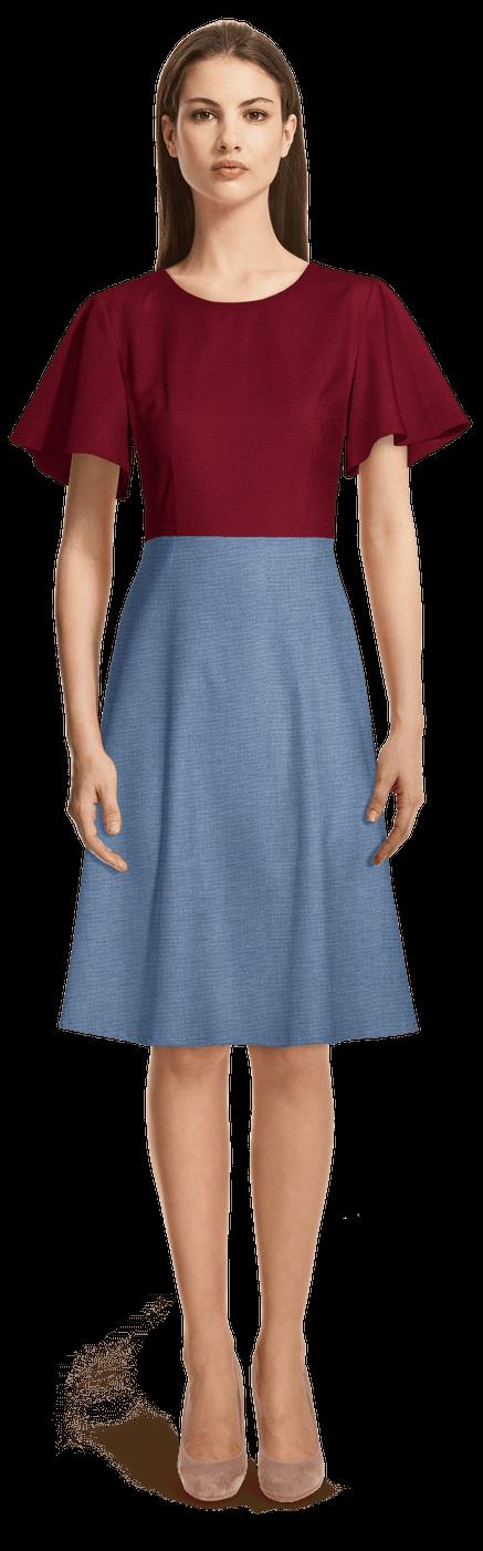 finest selection e0344 077dc Vestito svasato collo rotondo rosso e blu